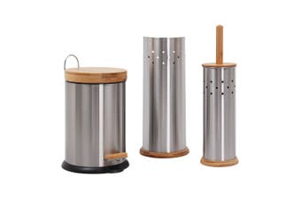 Eco Basics Bathroom Set 3L Rubbish Bin Toilet Brush Roll Holder Stainless Steel