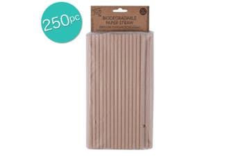 5x 50PK Eco Basics Biodegradable 19.5cm Disposable Party Drinking Paper Straws