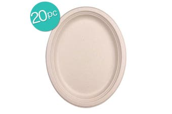 2x 10PK Eco Basics Biodegradable Disposable 32cm Sugarcane Party Plate Tableware