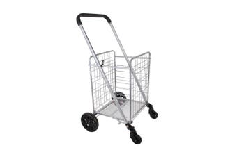 White Magic Handy Large Foldable Shopping Laundry Trolley Basket w Wheel Lock