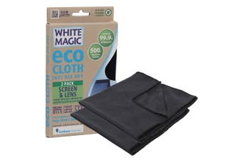 2PK White Magic Eco Cloth 30cm Cleaning Cloths Cleaner for Screen Lens Black