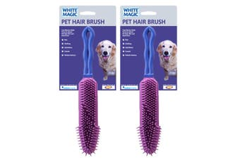 2x White Magic 27cm Pet Animal Dog Cat Hair Brush Grooming Cleaning Comb Remover