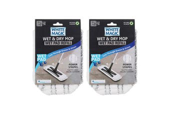 2x White Magic Wet & Dry Mop 40cm Microfibre Head Wet Pad Refill Replacements WH