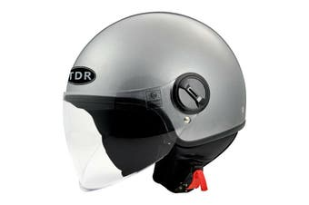 TDR Adult Open Face Pilot Helmet (ECE 22.05 Approved) for Harley Cruiser Scooter Motorbike Motorcycle (Grey)