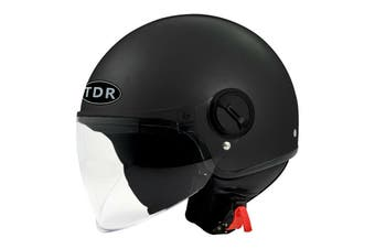 TDR Adult Open Face Pilot Helmet (ECE 22.05 Approved) for Harley Cruiser Scooter Motorbike Motorcycle (Black)