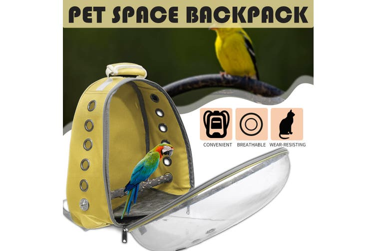 Pet Parrot Backpack Carrier Easy Carry Stands Wooden Bird Travel Bag Cage Nest Yellow Kogan Com