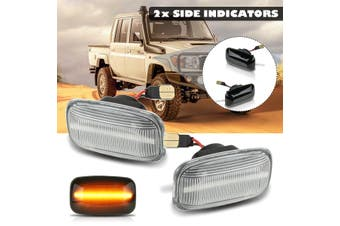 2X LED Side Turn Signal Indicator Light For Toyota Land Cruiser 70 80 100 Series(clear,Normal Flashing)