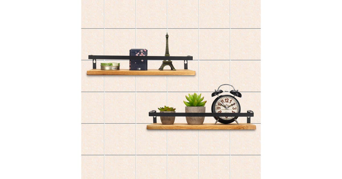 maysarah 2pcs rustic wood floating shelves wall mounted storage kitchen bathroom shelfbrowntype 2 brown poa