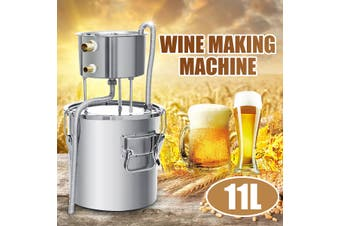 11L Alcohol Distiller Stainless Steel Boiler Distilled Water Purification Steamed Brewing Machine Wine Maker Equipment Making Tool Household Bar Home Kitchen(silver,3 gallon)