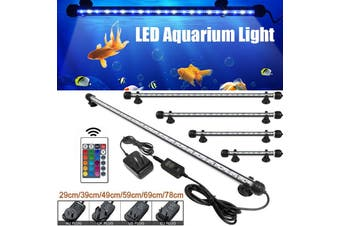 29cm 5050 LED IP68 Waterproof Fish Tank Light AquariumLED Light LampBar Light Lamp Submersible Decor With Remote Control (multicolor,AU Plug(29cm))