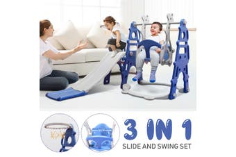 Slide Swing Combination Set, 3 in 1 Indoor Outdoor Sports Climber Toddler Kids Jungle Gym Gifts With Basketball Hoop Lapping(blue)