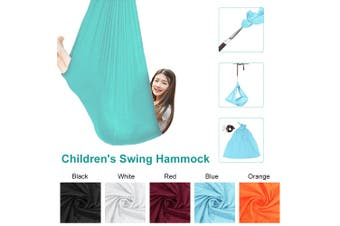 100x280cm Indoor/outdoor kid's Hammock Swing Bed with Heavy Duty Adjustable Soft Swing Nylon(blue,Blue)