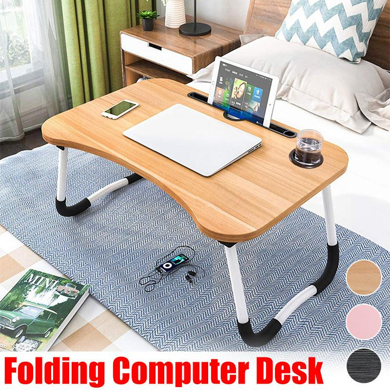 For 11 17inch Laptop 60x40x28cm Foldable Lazy Desk Multi Use Laptop Stand Portable Computer Desk Bed Tray Table Notebook Table W Tablet Slot Cup Holder For Bed Sofa Home Study Black Matt Blatt