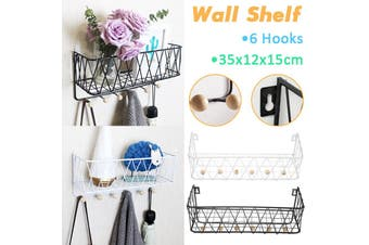【Metal+Wood】(With 6 Hooks) Wall Mounted Shelf Wire Rack CD Storage Floating Shelf Modern Collection Basket Key Hanging Hanger Bookcase Shelving For Home Office Bedroom Study Decor(white)