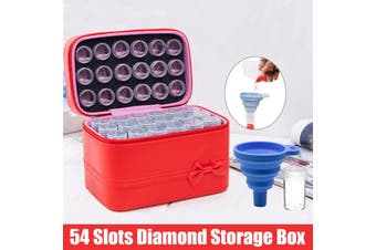 [ With Funnel ] 54 Grids Diamond Painting Storage Case, Clear Plastic Diamond Embroidery Box, DIY 5D Diamond Art Craft Accessory Organizer Jewelry Beads Sewing Pills Container Holder