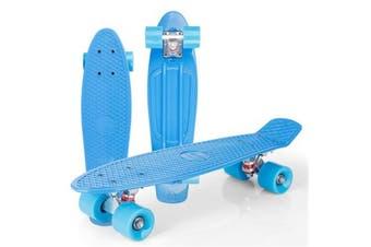22 Inches Skateboard Cruiser Four-wheel Banana Style Pennyboard Aluminum Bracket(blue)