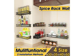 KITCHEN WALL MOUNT METAL STORAGE SHELF SPICE JAR RACK BOTTLE BATHROOM ORGANIZER(40cm)