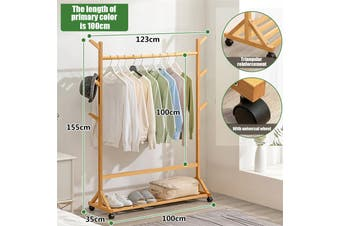 Coat Stand Wood Rack Rail Clothes Hat Garment Hanger Hook with Shelf Office Home