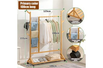 Clothes Rack Floor Hanging Hanger Solid Wood Simple Bedroom Household Clothes -- Log / Tan