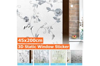 5x200cm Anti-UV 3D Window Film Sticker Static Decorative Privacy Frosted Stained Glass Home Decor - (Type C - Star)