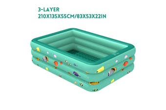 210/180/150CM Outdoor Indoor Thickened Inflatable Swimming Pool Portable Foldable Adult&Child Pool Bath Tub(210x135x55cm)