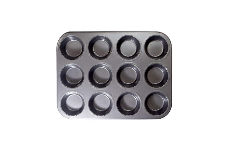 6/12 Cup Non-stick Muffin & Cupcake Pan Heavy Duty Carbon Steel Pan Muffin Tins Premium Craftsmanship(black,12 Cup with black regular baking tray)