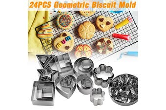 24 Pieces Stainless Steel Buscuit Molds Sets 8 Cutter Shapes in 3 Sizes Each(Type A)