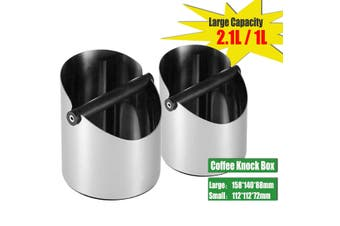 Stainless Steel Coffee Grounds Box Bucket Coffee Grind Waste Bin Knock Container(Small Size(1L))