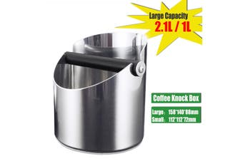 Stainless Steel Coffee Grounds Box Bucket Coffee Grind Waste Bin Knock Container(Large Size(2.1L))