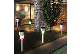 24pcs/set Mini Solar RGB LED Garden Light Stainless Steel Outdoor Waterproof Landscape Light Street Light Yard Light(multicolor)