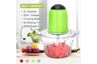 2L 220V Electric Blender Food Chopper Meat Grinder Household Processor Machine(green,Green)