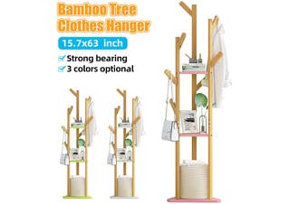 3-Layer Sturdy Natural Bamboo Tree Clothing Clothes Coat Hat Hanger Stand Rack Hook Minimalist Monochrome Clothes Hang
