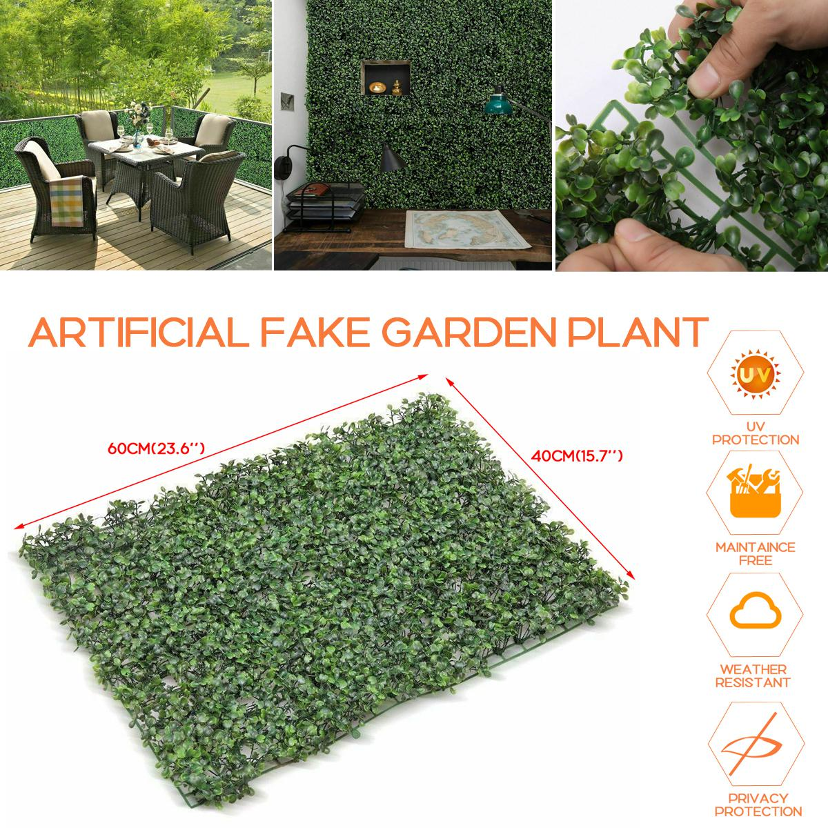 60x40cm Artificial Lawn Thick Grass Plant Hedge Fake Vertical Garden Green Wall Mat Trimming Free Fence W Uv Coating Protection For Indoor Outdoor Office Shop Home Decor 10pcs Matt Blatt