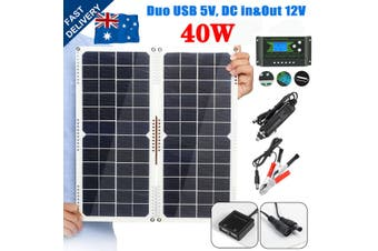 40W 12V Foldable Mono Solar Panel Dual USB W/ Controller For DIY Phone Camping