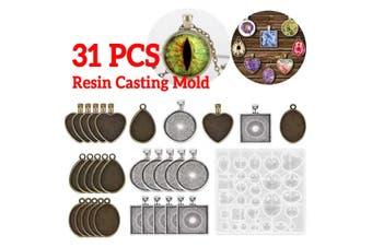 31pcs Resin Casting Molds Kit Silicone Mold Jewelry Making Pendant DIY Mould Set(31pcs-5 types)