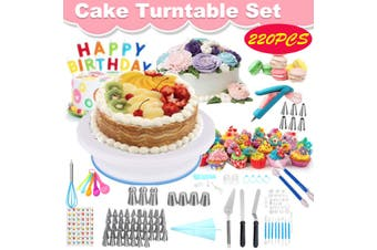 220PCS Cake Decorating Turntable Set Nozzles Rotating Stand Supplies Pastry DIY (220PCS)