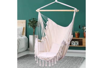 Hammock Chair Hanging Rope Swing-Max 330 Lbs-2 Cushions Included-Large Macrame Hanging Chair with Pocket- Quality Cotton Weave for Superior Comfort & Durability (Grey)