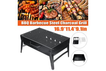 BBQ Grill Foldable Stainless Steel 43X29X23cm Portable Outdoor Folding Barbeque Charcoal Picnic Stand Camping Cook (Small 1-5 person) Cooking Stove