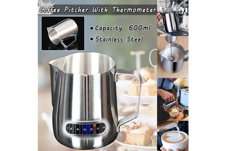 Coffee Pitcher Frothing Latte Milk Jug With Thermometer Stainless Steel(600 ml)