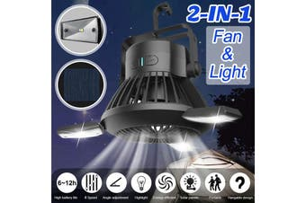2in1 E27 Solar USB LED Garage Ceiling Light Bulb Deformable Fan Workshop Lamp with Mosquito Repellent Mode, 4 Speeds Wind Adjustment Lantern Outdoor Tent Camping
