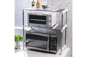 Multi-functional Stainless Steel Microwave Oven Rack Kitchen Counter Organizer Shelf Stand Holder