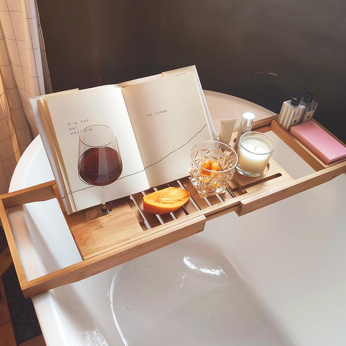 70 105cm Extendable Bamboo Bath Caddy Adjustable Home Spa Wooden Bath Tray Matt Blatt