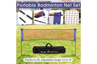 510cm/16.7ft Foldable Movable Badminton Tennis Volleyball Net For Beach Garden Indoor Outdoor Games