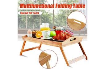 50x30x24cm Portable Bamboo Laptop Desk Table Folding Breakfast Bed Serving Tray Household Table Student Dormitory Bed Furniture Gifts