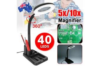 5X 10X Magnifying Lamp Crafts Glass Desk 40 LED Magnifier Light Reading AU Plug