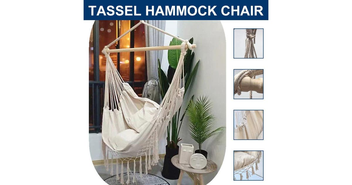 Dick Smith Outdoor Swing Indoor Hanging Chair Leisure Canvas Hammock Chair With 2 Free Pillows 1 Set Of Accessories White 2 Pillow Hammocks Home Garden Yard Garden Outdoor Living