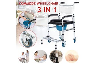 3 in 1 Commode Wheelchair Chair Bedside Mobile Toilet Shower Chair Seat Aluminum