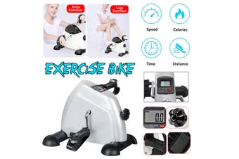 Portable Mini Exercise Bike Arm Leg Resistance Pedal Exerciser Body Building Workout Fitness Bike Pedal Machine with LCD Display