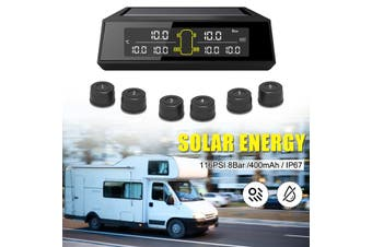 Car TPMS Tyre Pressure Tire Pressur System Solar Power LCD Digital Alarm + 6 External Sensors