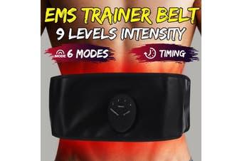 Smart EMS Muscle Stimulator Trainer Fitness Training Gear Buttocks Massager Electric Waist Slimming Body Muscle Abdominal Training Belt [6 Modes, 9 Intensity]